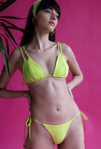 Women's yellow string bikini recycled nylon by The Nudist