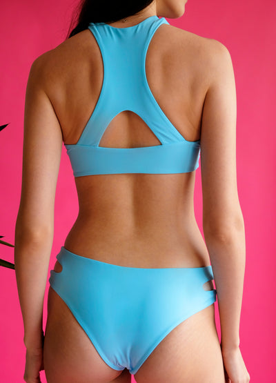 Women's blue sport 2-piece bikini back view recycled nylon by The Nudist