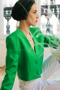 Crazy Green Linen Top