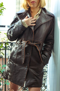 Brown Belted Leather Jacket
