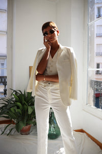 Three Pieces White Suit