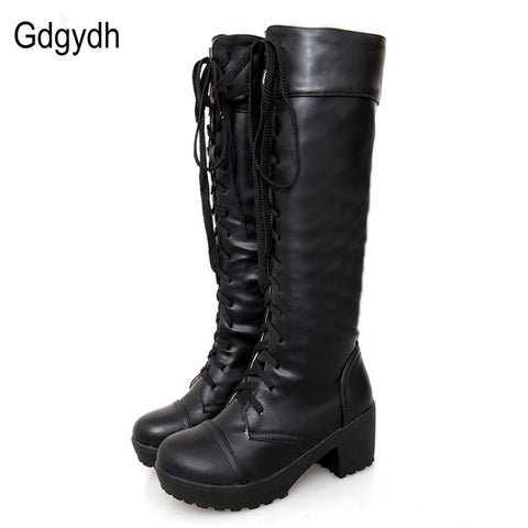 Gdgydh Large Size 43 Lace Up Knee High Boots Women Autumn Soft Leather Fashion White Square Heel Woman Shoes Winter Hot Sale - dealsonbox
