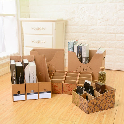 Coloffice Kraft paper bookend book holder book file  bookends holder bookshelf stationery book stand school office organizer - dealsonbox