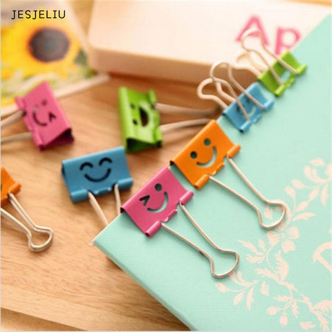 JESJELIU 10x  Smile Metal Binder Clips For Home Office School File Paper Organizer - dealsonbox