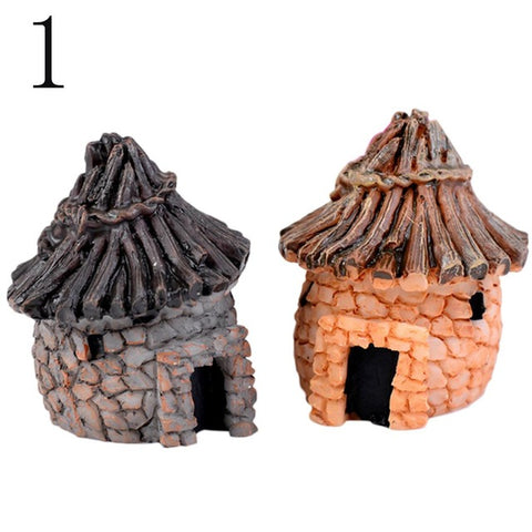 1PC cute resin crafts house fairy garden miniatures gnome Micro landscape decor bonsai for home decor Random Color - dealsonbox