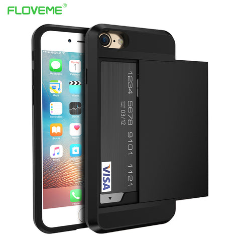 FLOVEME Luxury Armor Case For iPhone 6 6S Plus Card Pocket Phone Case For iPhone X 8 7 Plus 5 SE Hard CellPhone Back Cover Cases - dealsonbox