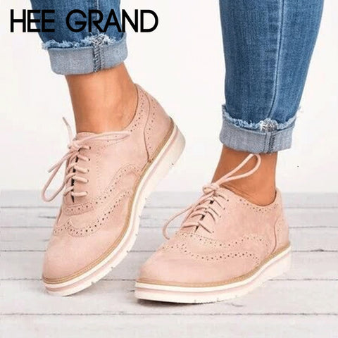 HEE GRAND Rubber Brogue Shoes Woman Platform Oxfords British Style Creepers Cut-Outs Flat Casual Women Shoes 5 Colors XWD6990 - dealsonbox
