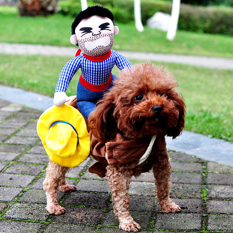 Novelty Halloween Dog Costumes Pet Clothes Cowboy Dressing up Jacket Coats for Dogs Funny French Bulldog Chihuahua Pug Clothing - dealsonbox