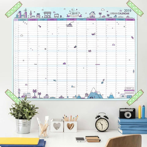 2019 365days Paper Wall Calendar Office School Daily Planner Notes, Very Large Study New Year Plan Schedule 43*58cm - dealsonbox