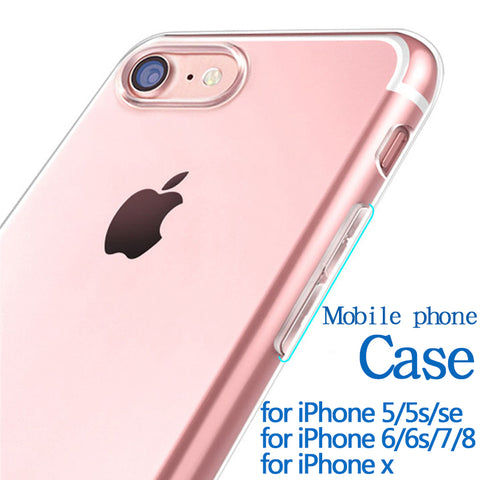TPU for iphone 7 case for iPhone 5 5s se 6 6s 7 8 x plus cellphone case Transparent Thin and light case for iphone 5s Anti-fall - dealsonbox