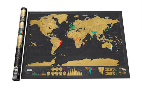 Free shipping Deluxe Black Scratch Off Map World Map Best Decor School Office Stationery Supplies - dealsonbox