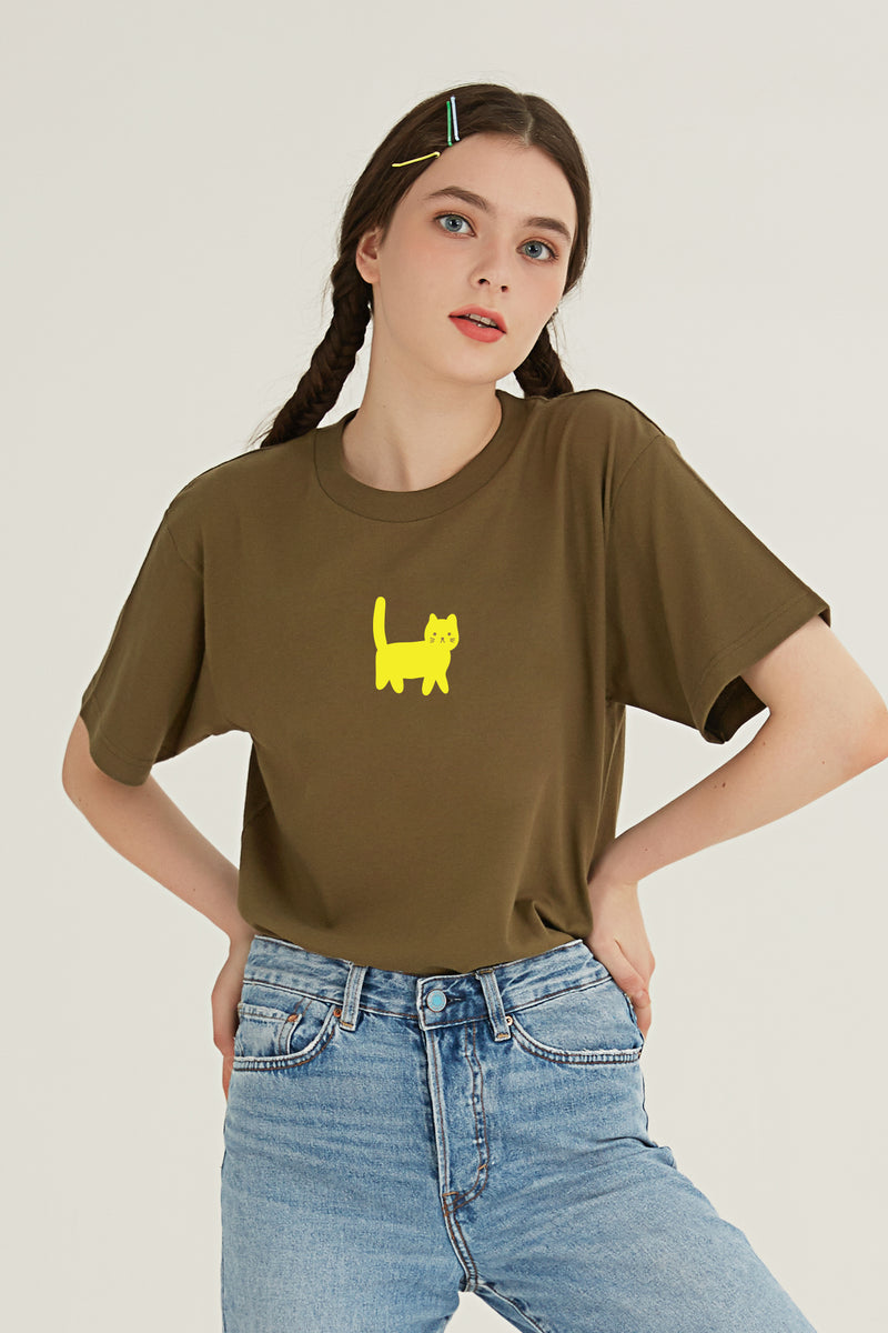 Hi Cat T-Shirt - OLIVE GREEN