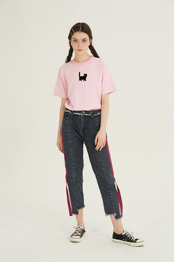 Hi Cat T-Shirt - PEACH PINK