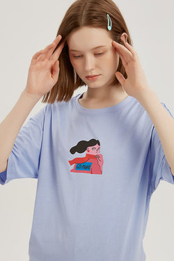 Please Don't Talk to Me T-shirt - Fog Blue