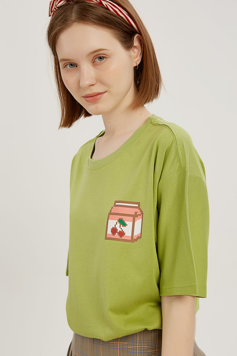 Pixel Cherry T-shirt - Matcha Green
