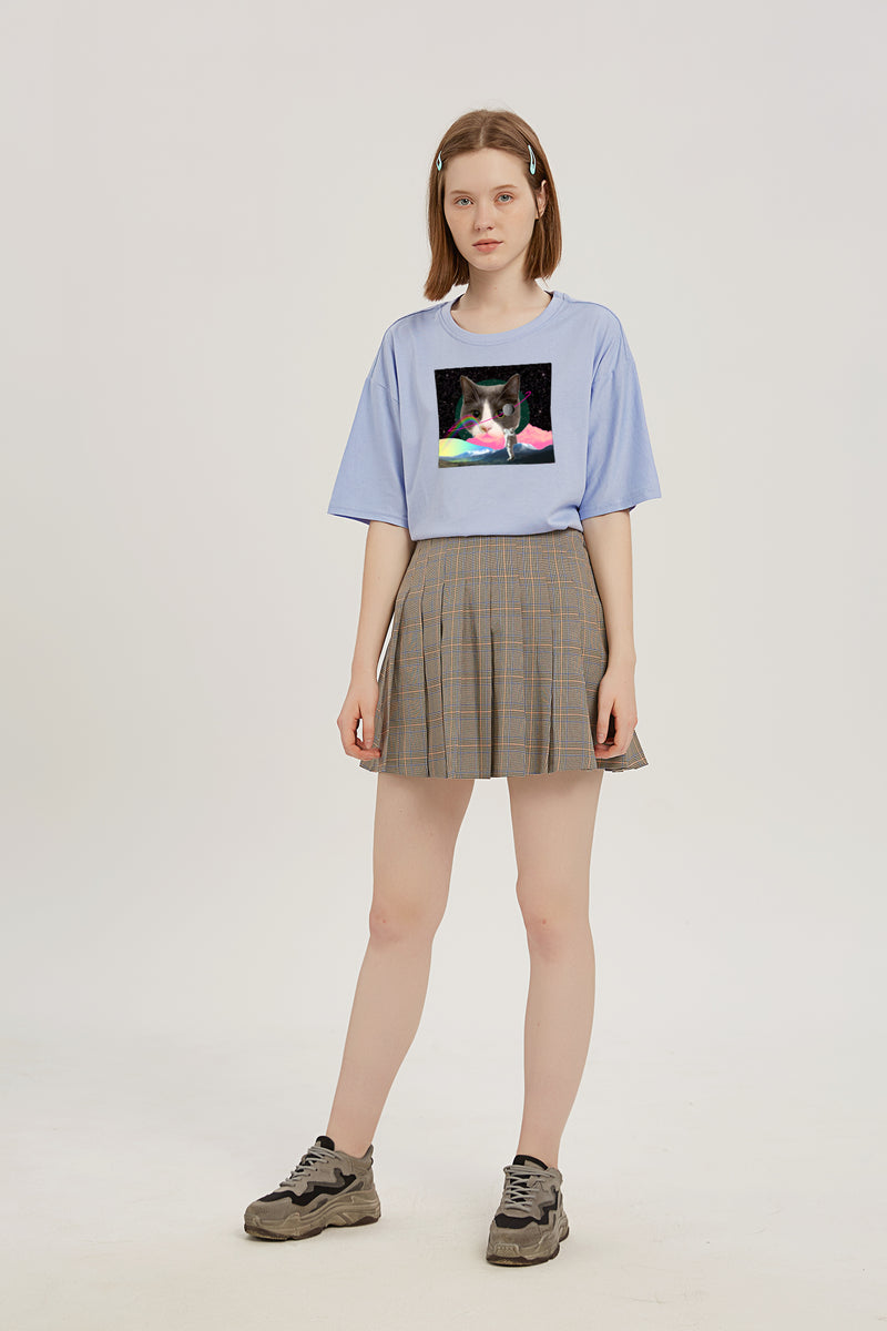 Catoro Arrives in Space T-Shirt - Fog Blue
