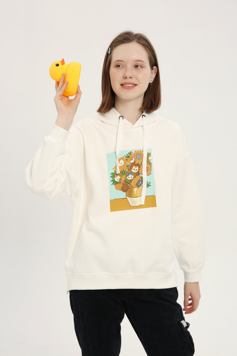 Catflowers Hoodie - Bone White