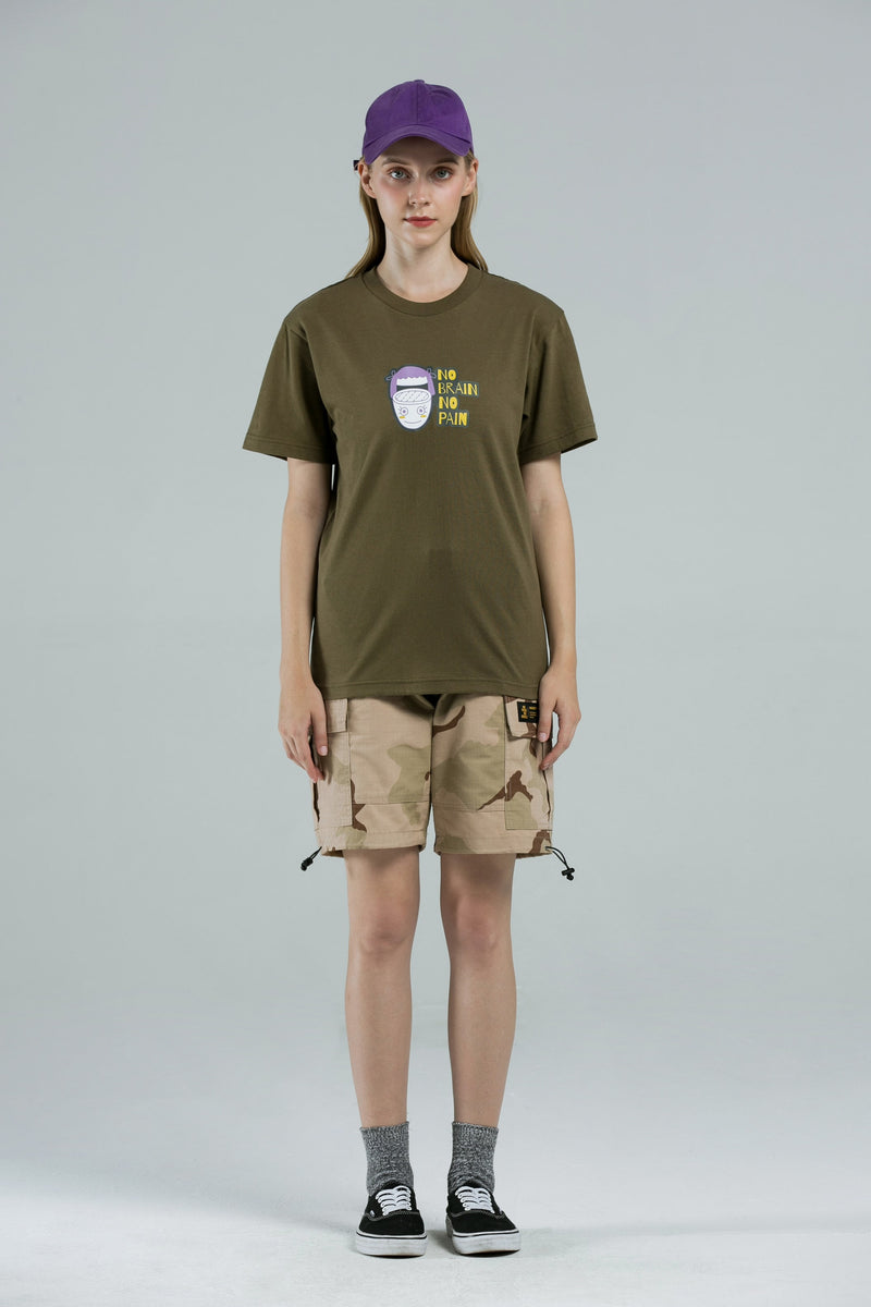 No Brain T-Shirt - OLIVE GREEN
