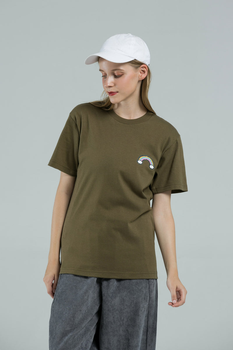 Rainbow T-SHIRT - OLIVE GREEN