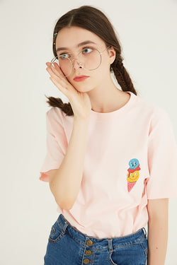 Ice Cream Cone T-Shirt - Light Pink