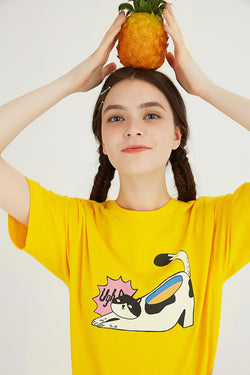 Cat Shoe T-Shirt - Yellow