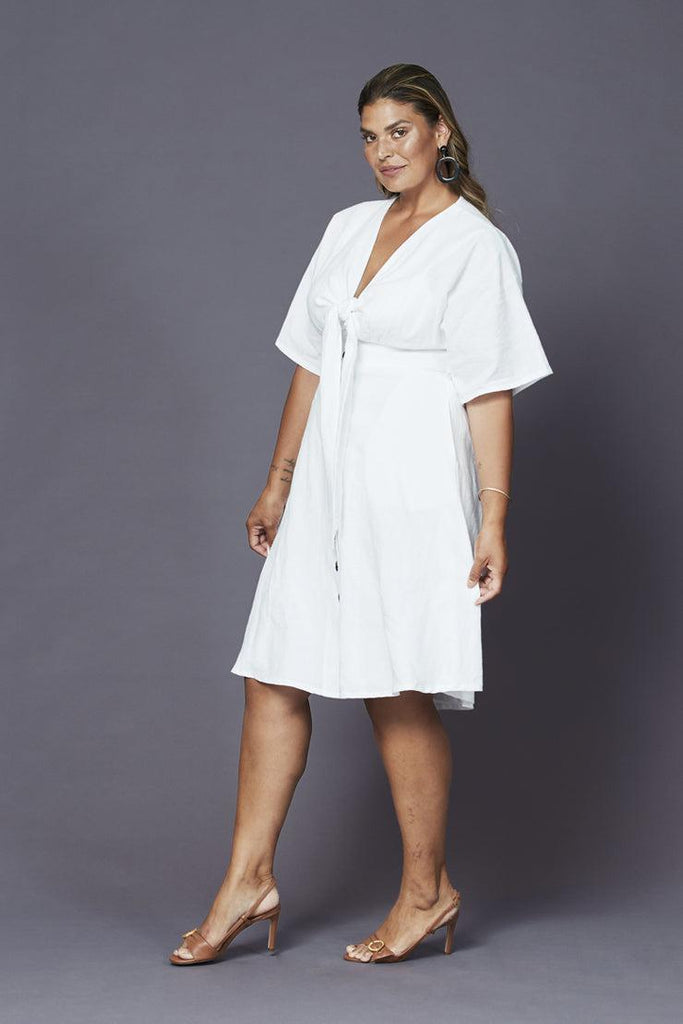 angelika linen dress white