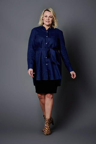 Suki Deep Blue Linen Shirt