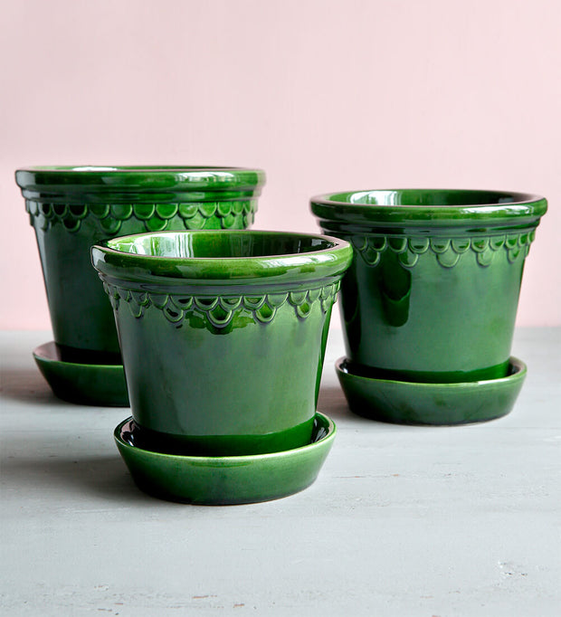 Bergs Potter Medium Emerald Copenhagen Glazed Plant Pot & Saucer
