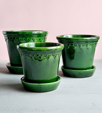 Bergs Potter Small Emerald Copenhagen Glazed Plant Pot & Saucer