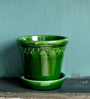 Bergs Potter Large Emerald Copenhagen Glazed Plant Pot & Saucer