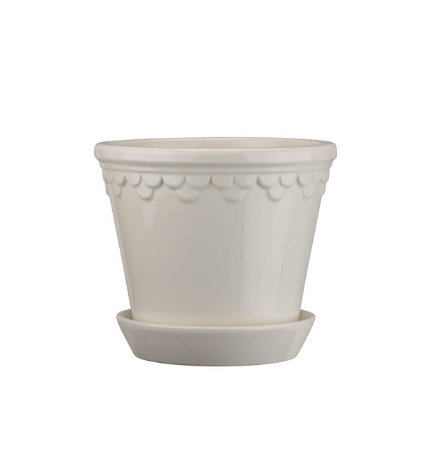 Bergs Potter Small White Copenhagen Glazed Plant Pot & Saucer