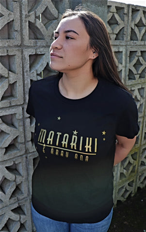 Matariki E ārau ana - Mens and Womens Black/Gold Tee