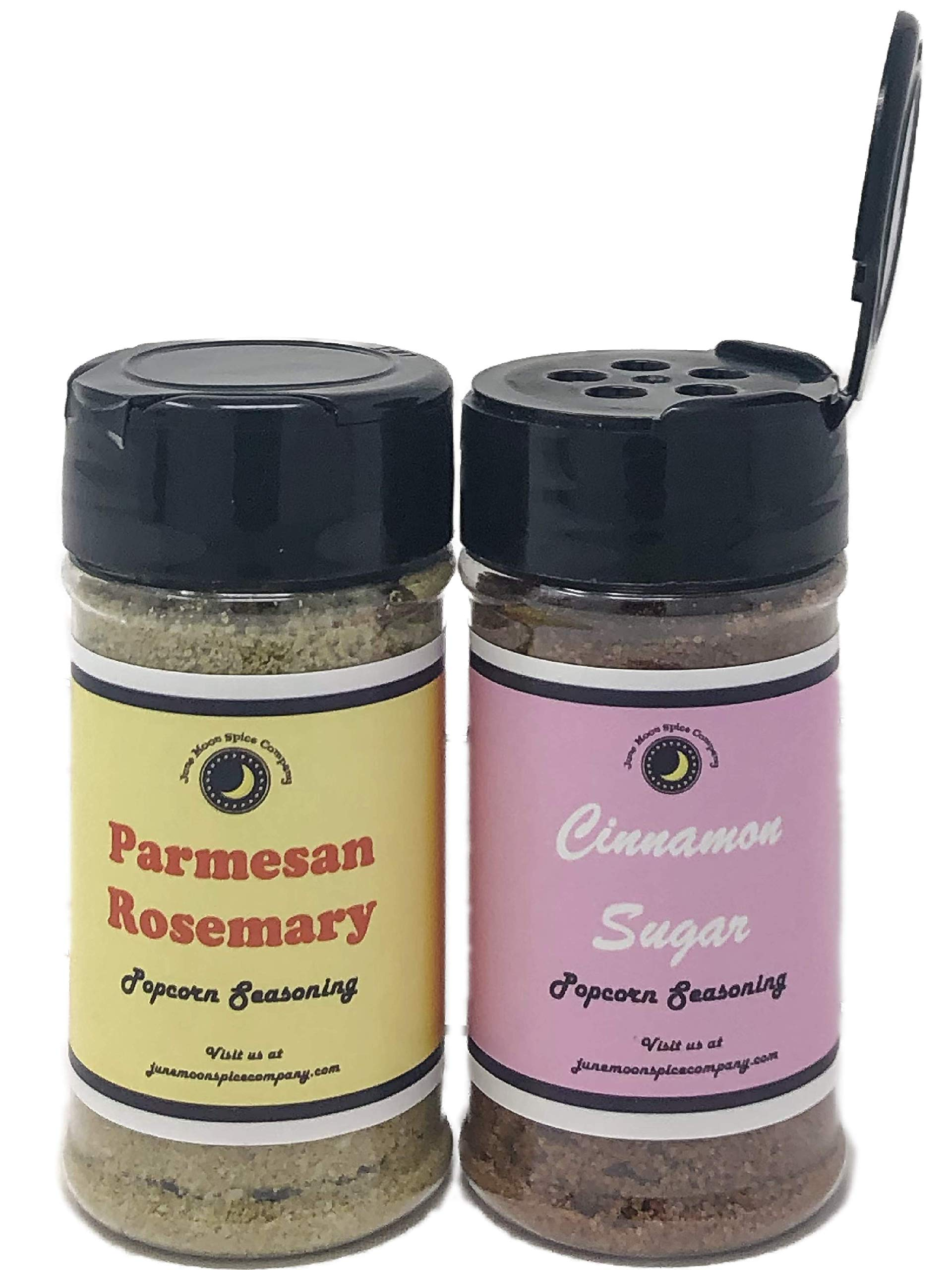 Popcorn Seasoning 2 Pack | Cinnamon Sugar | Parmesan Rosemary | Includes Six Popcorn Bags