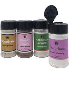 Popcorn Seasoning 4 Pack | Gingerbread | Cinnamon Sugar | Christmas Cookie | Fairy Dust