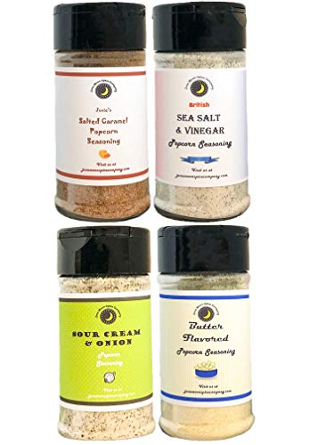 Popcorn Seasoning 4 Pack | Sea Salt & Vinegar | Salted Caramel | Sour Cream & Onion | Butter Flavor