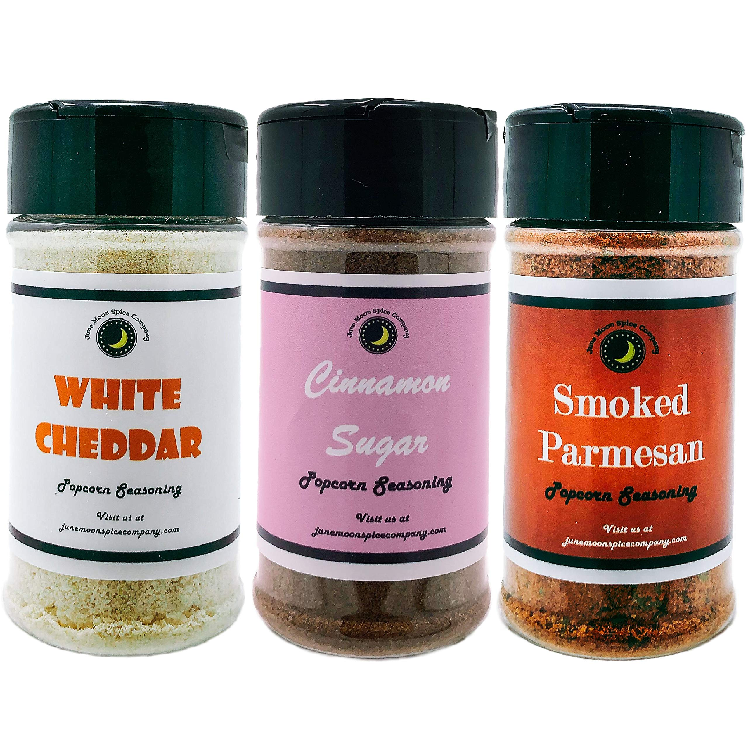 Popcorn Seasoning 3 Pack | Smoked Parmesan | Cinnamon Sugar | White Cheddar
