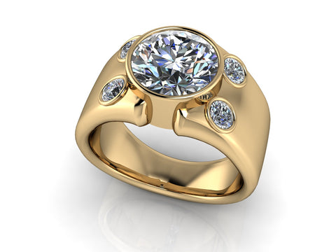 men's diamond signet gold ring custom made by spexton jewelry in tulsa