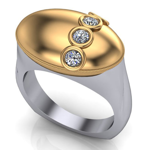 Custom gold and diamond domed ring by Spexton Jewelers in Tulsa