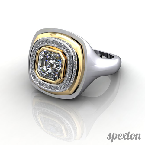 Custom diamond gold signet ring by Spexton Jewelry Store in Tulsa