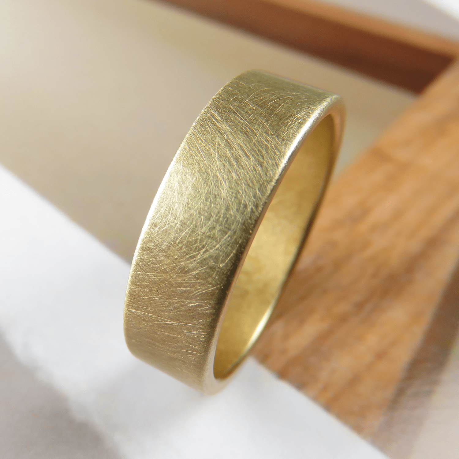 brushed 6mm gold low profile wedding band - spexton custom jewelry