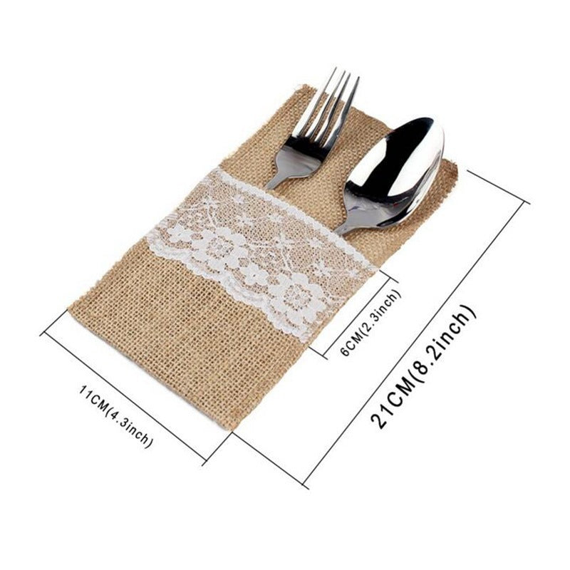 Linen Christmas Lace Cutlery Holder - DForDecor