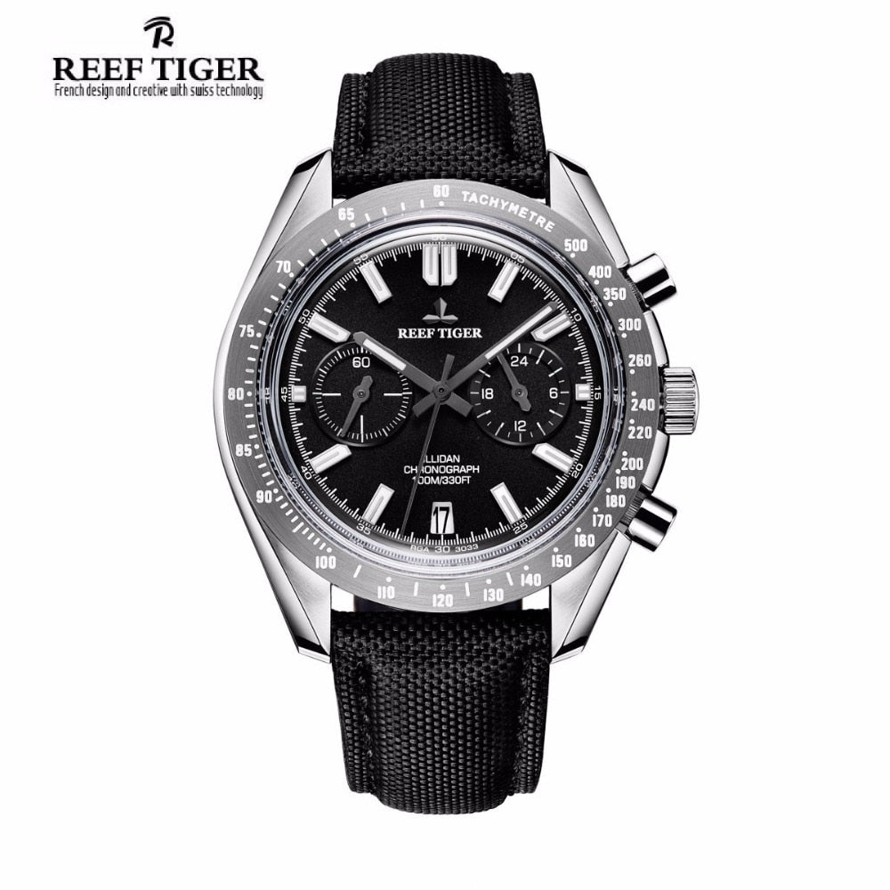 Relógio Reef Tiger/RT Brand Designer de Luxo Super Luminous Nylon