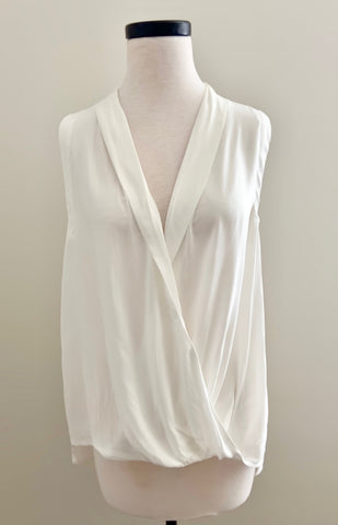 Wide Wrap Woven White Top