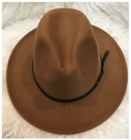 Stiff, Felt-like fabric shapes this Wide-Brimmed Fedora Hat