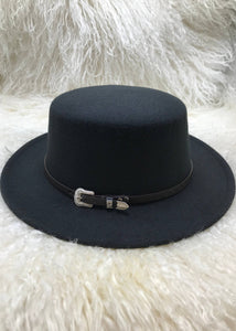 Black Wide Brimmed Boater Hat with Dark Brown Belt Trim