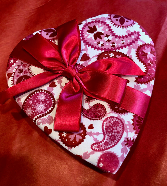 "Grand Pink Paisley Satin Heart Box (12"" wide) - 13 piece/ large presentation size"