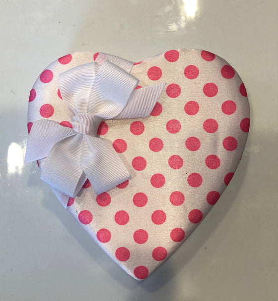 Pink Polka Dot  Heart Shaped Box - 14 Piece