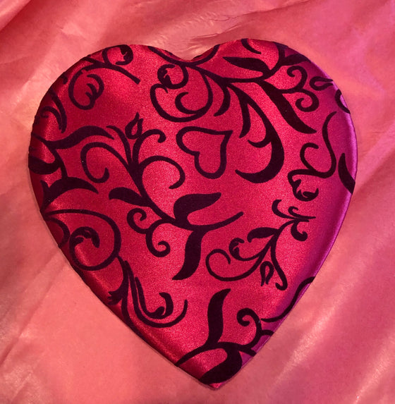 "Grand Red Filagree Satin Heart Box (12"" wide) - 13 piece/ large presentation size"