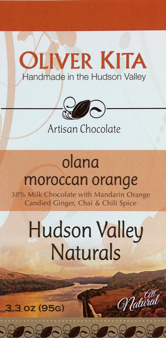 Olana Moroccan Orange - Milk Chocolate, Orange, Candied Ginger & Spice
