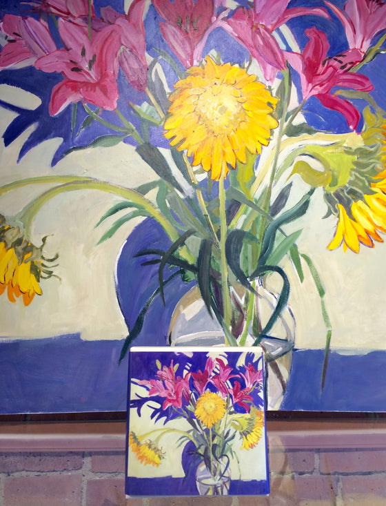 Lily's and Sunflowers Gift Box- Painting by Lila Bacon